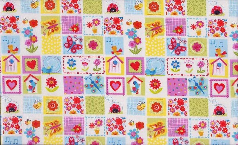 Cotton Quilt Fabric Girly Bugs Mini Blocks Birds Frogs Butterfly - product image