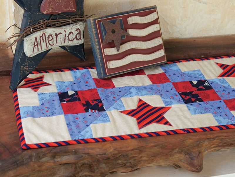 All Stars Table Runner Kit Red White And Blue Patriotic American  - product images  of