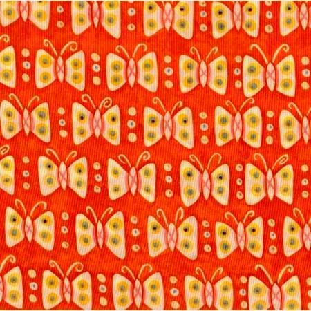 Cotton Quilt Fabric Mooshka Butterflies Orange Folk Art Paschkis - product image