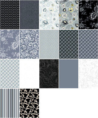 4 1/4 Yards Quilt Fabric Silent Movies Fat Quarter Medley Blacks Whites Grays  - product image