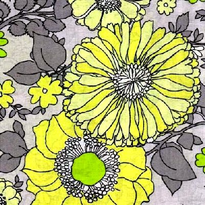Cotton Quilt Fabric Spring Fling Large Floral Yellow Grey Green  - product image