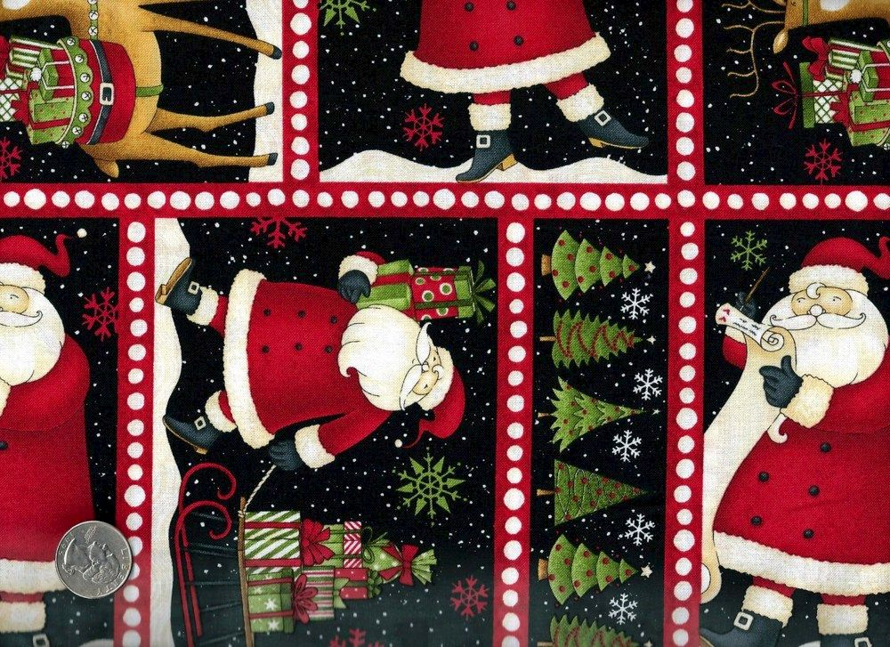 Cotton Quilt Fabric Christmas Santa's Gifts Block Print Santa D ...