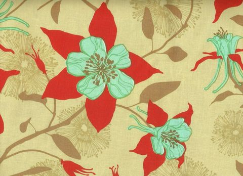 Cotton,Quilt,Fabric,Deer,Valley,Columbine,Joel,Dewberry,Floral,Tan,quilt fabric,cotton material,auntie chris quilt,sewing,crafts,quilting,online fabric,sale fabric