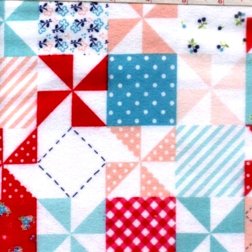 Cotton Quilt Fabric Flannel Country Girls Patchwork Red White Pink - product image