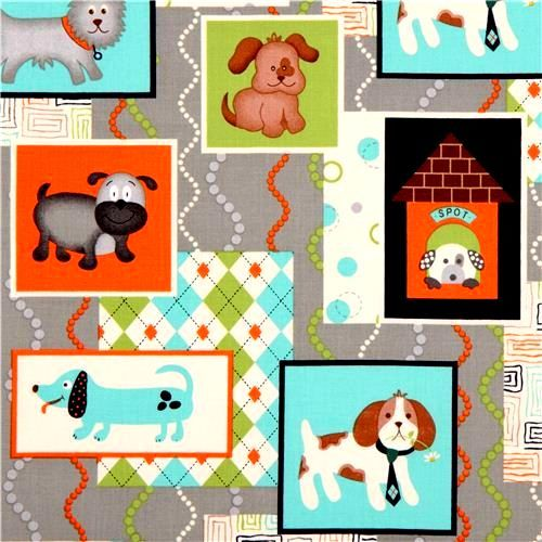 Cotton Quilt Fabric Dogs I Love Puppies Gray Cotton Dog Breeds  - product images  of