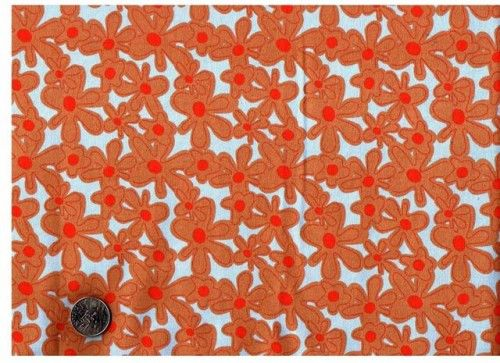 Cotton Quilt Fabric Hotflash Day Glow Daisy Luella Doss Quilt Fabric Chestnut  - product image