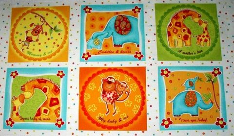 Cotton,Quilt,Fabric,Panel,Safari,Sweethearts,Baby,Mat,Monkey,Elephant,quilt fabric,cotton material,auntie chris quilt,sewing,crafts,quilting,online fabric,sale fabric