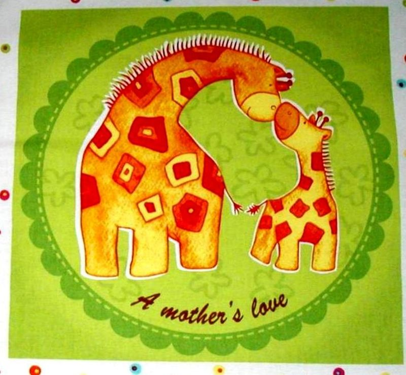 Cotton Quilt Fabric Panel Safari Sweethearts Baby Mat Monkey Elephant - product images  of