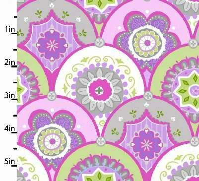 Cotton Quilt Fabric Flannel Precious Baby Pink Violet Scalloped  - product image