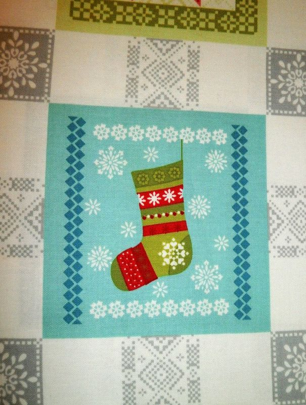 Cotton Quilt Fabric Panel O Christmas Tree Holiday Blocks Trees Snowflakes   - product images  of