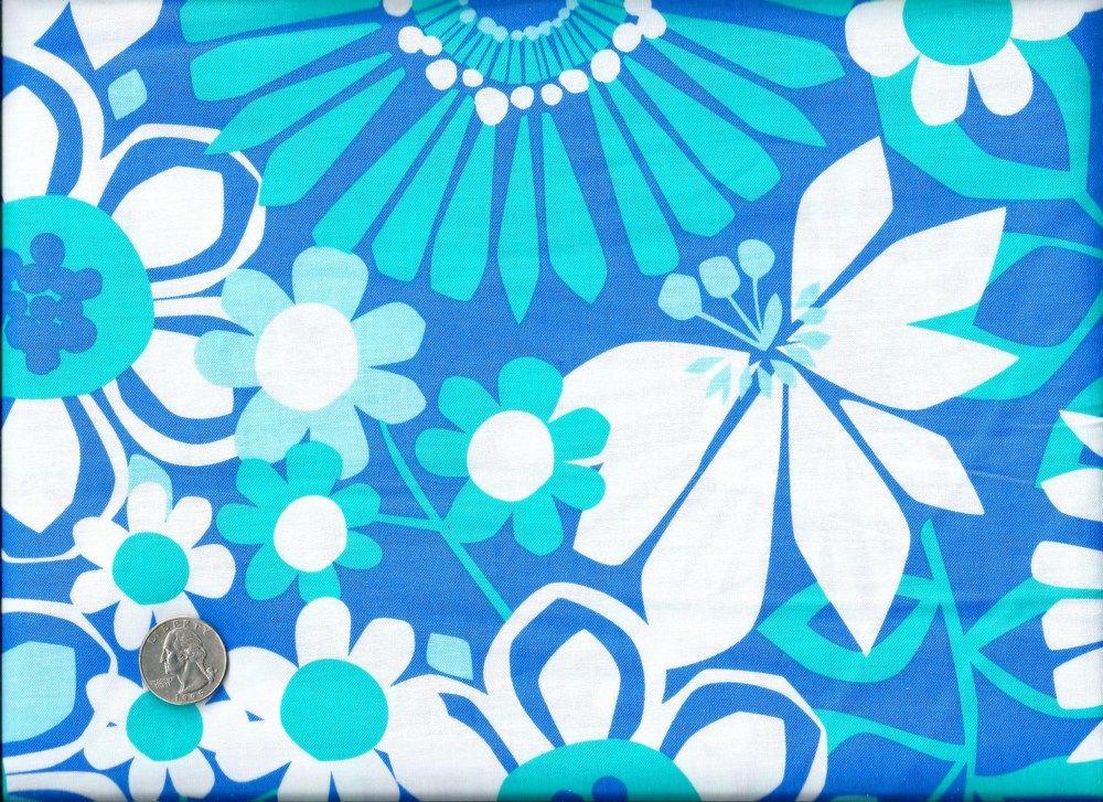 Cotton Quilt Fabric Color Stories Modern Blue White Flower Auntie