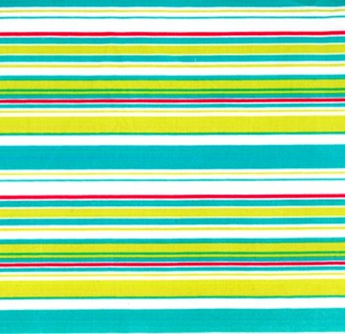 Cotton Quilt Fabric Pretty Please Pinwheel Stripe White Aqua Blue  - product image