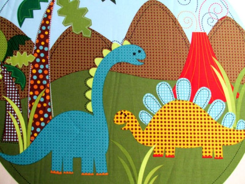 Quilt Fabric Panel Dino Dinosaur Fabric M Miller Pillow Quilt Blocks  - product images  of