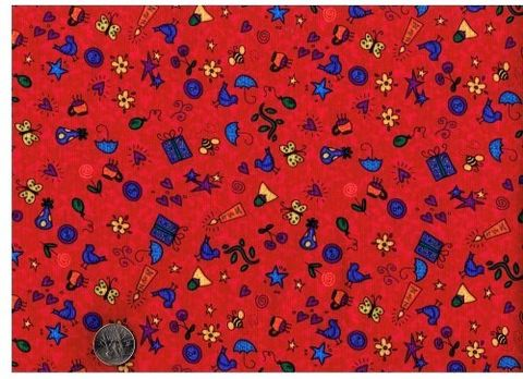 Cotton,Quilt,Fabric,You've,Got,Mail,Bright,Kids,Red,quilt fabric,cotton material,auntie chris quilt,sewing,crafts,quilting,online fabric,sale fabric