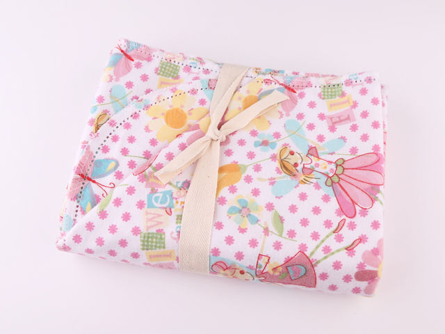Cotton Flannel Quilt Fabric Flower Fairies White Pink Girls - product images  of