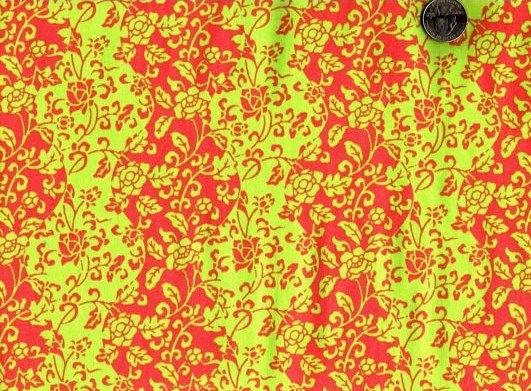 Cotton Quilt Fabric Mei Fong Little Bird Asian Orange Green Floral  - product image