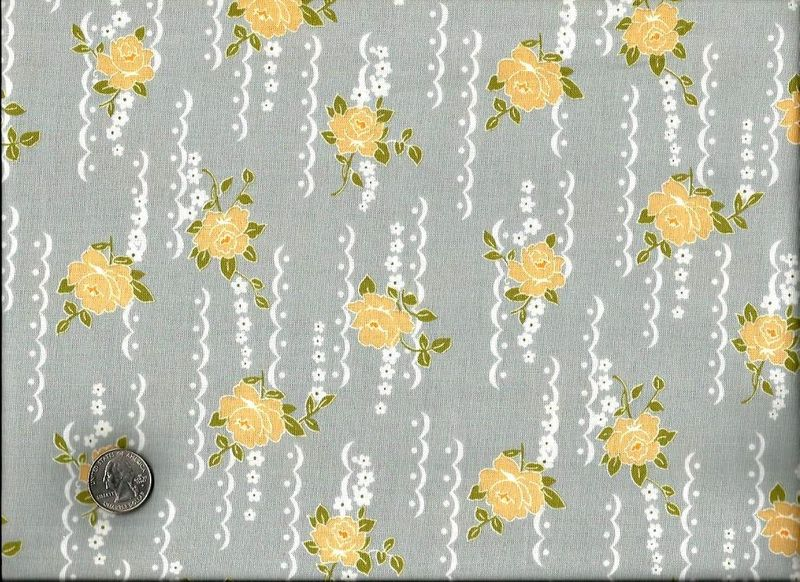 Cotton Quilt Fabric Yellow Rose Nine Dots Gray Floral - product images  of