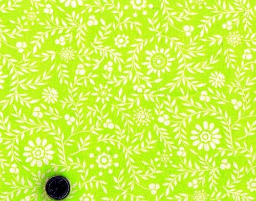 Cotton Quilt Fabric Snow Flower by Dena Designs Lime Green  - product image