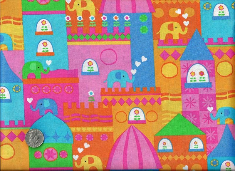 Cotton Quilt Fabric Designer Kidz Princess Fabric Elephants Girls  - product image