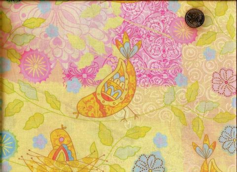 Cotton,Quilt,Fabric,Pretty,Bird,Pastel,Yellow,Nest,quilt fabric,cotton material,auntie chris quilt,sewing,crafts,quilting,online fabric,sale fabric