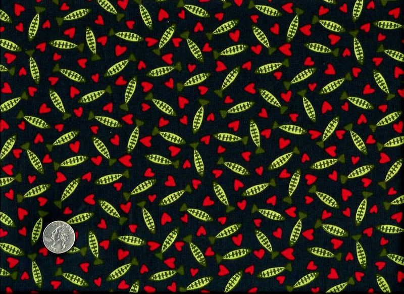 Cotton Quilt Fabric Raining Cats Hearts Fish Red Black  - product image