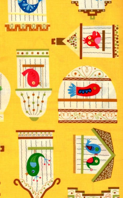 Cotton Quilt Fabric Birdcage Linda Yellow Whimsical Modern  - product images  of