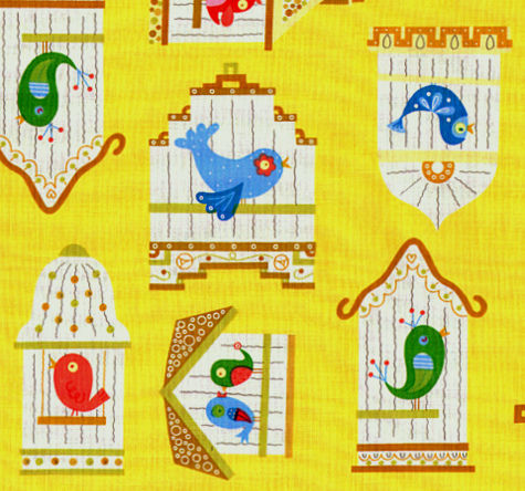 Cotton,Quilt,Fabric,Birdcage,Linda,Yellow,Whimsical,Modern,quilt fabric,cotton material,auntie chris quilt,sewing,crafts,quilting,online fabric,sale fabric,fat quarter