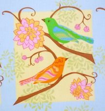 1 Panel Quilt Fabric Nest Valori Wells Bird Fabric Pastel Quilt Blocks - product images  of