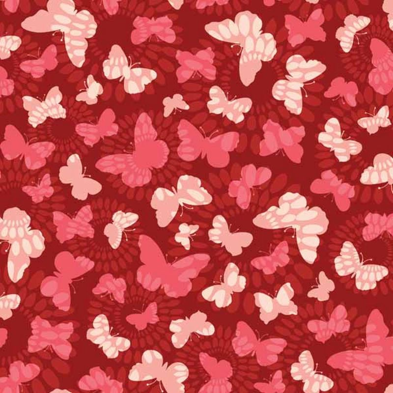 Cotton Quilt Fabric Spintastic Butterfly Suzani Red Pink - product image