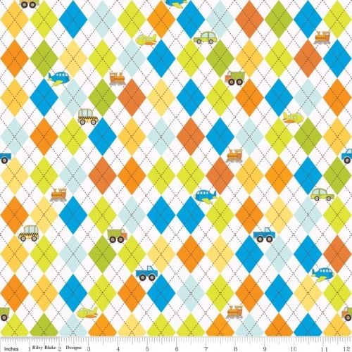 Cotton Quilt Fabric On The Go Argyle Train Airplane Boy Fabric Blake - product images  of