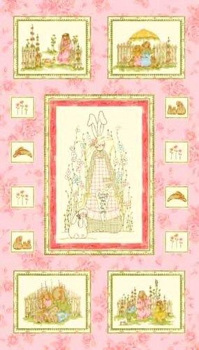 Quilt Fabric Nannas Garden Baby Quilt Bunny Rabbit Fabric Pink 1 Panel  - product image