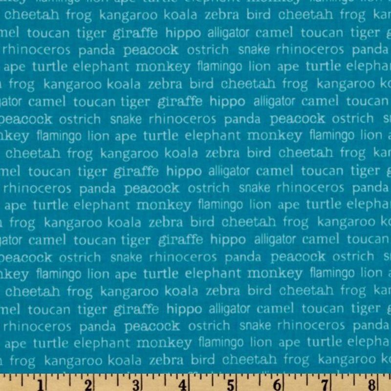 Cotton Quilt Fabric Zoofari Animal Names Blue Boys Fabric R Blake  - product image