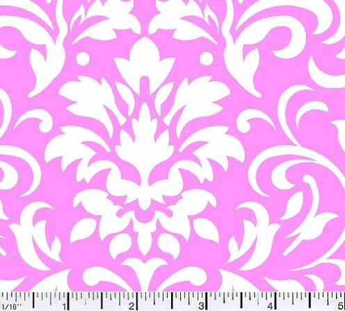 Cotton Quilt Fabric Delightful Damask Pink And White Cotton  - product image
