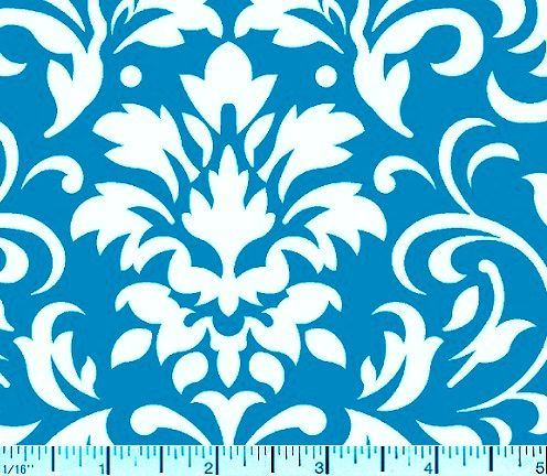 Cotton Quilt Fabric Delightful Damask Teal Blue And White - product images  of