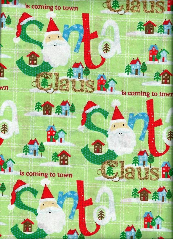 Good Buy Cotton Quilt Fabric Christmas Santa Is Coming Red Green Modern  - product image