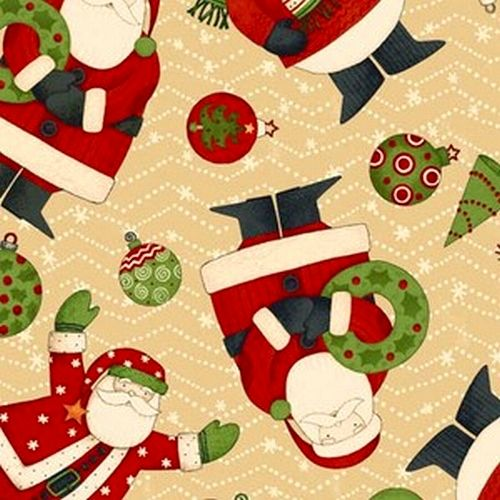 Cotton Quilt Fabric Christmas Ho Ho Holiday D Mumm Snowman Cream - product image