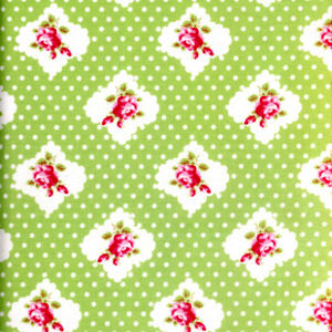 Cotton Quilt Fabric Rosie Dot Fabric Darla T Whelan Roses on Green - product images  of