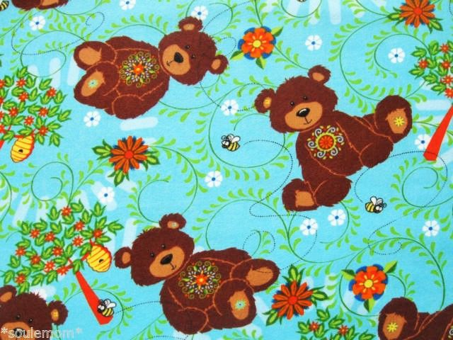Cotton  Flannel Quilt Fabric Mystic Forest Allover Bears Turquoise Blue - product images  of