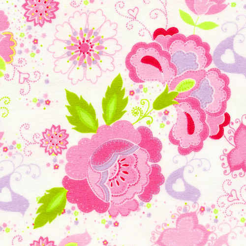 Cotton Quilt Fabric Flannel Delicate Floral Birds Pink Green White - product images  of