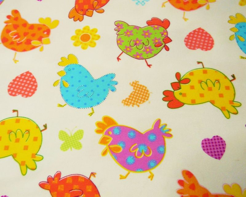 Cotton Flannel Quilt Fabric Styling Chicks Pink Green Blue White - product images  of