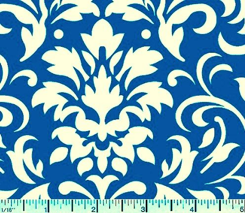 Cotton Quilt Fabric Delightful Damask Royal Blue And White Cotton  - product images  of