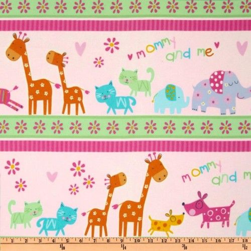 Cotton Quilt Fabric Mommy And Me Girls Pink Elephant Kitty Giraffe  - product image