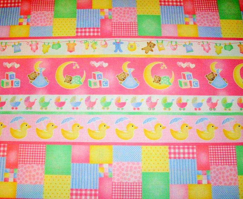 Cotton Quilt Fabric Sleepy Time Girls Border Stripe Bear Duck - product image