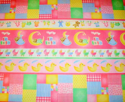 Cotton,Quilt,Fabric,Sleepy,Time,Girls,Border,Stripe,Bear,Duck,quilt fabric,cotton material,sewing,crafts,quilting,online fabric,sale fabric
