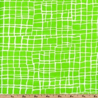 Cotton Quilt Fabric Baby Blocks Checks Lime Green Geometric - product image