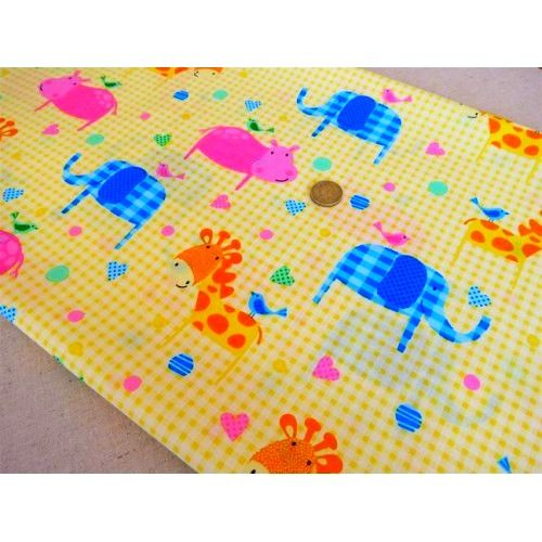 Cotton Quilt Fabric My Little Precious Baby Quilts Animals Yellow   - product image