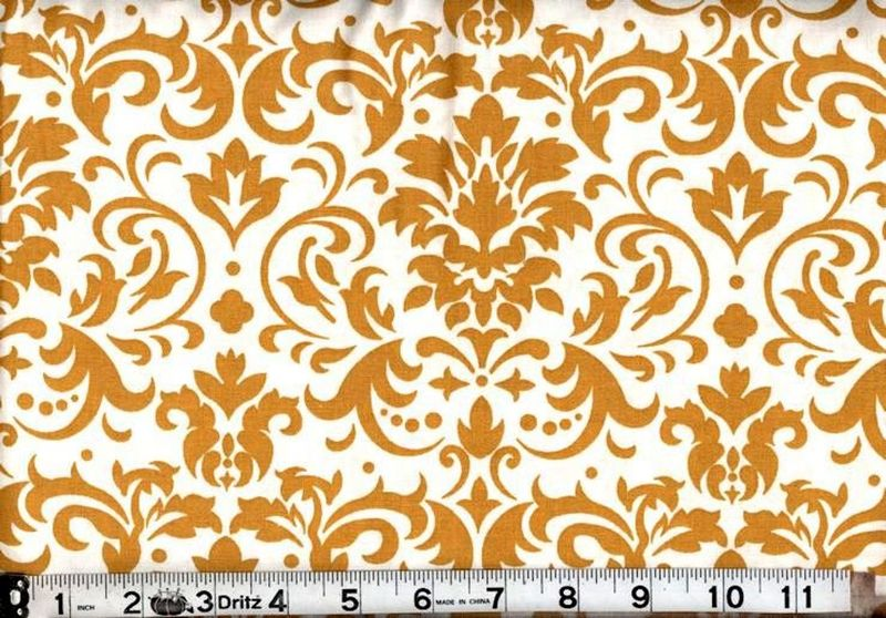 Cotton Quilt Fabric Delightful Damask Gold And White  - product image