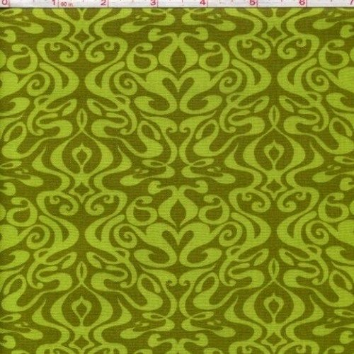 Cotton Quilt Fabric Pacific Tradewinds Modern Damask Olive Green  - product image