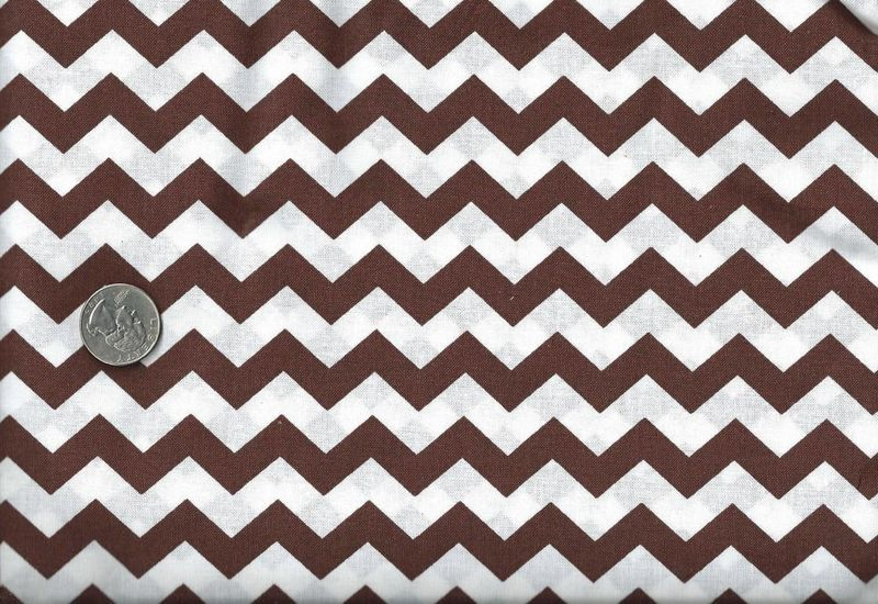 Cotton Quilt Fabric Chevron Stripe Geometric Brown And White - product image