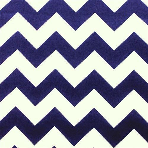 Cotton Quilt Fabric Wide Chevron Stripe Geometric Navy Blue And White  - product images  of